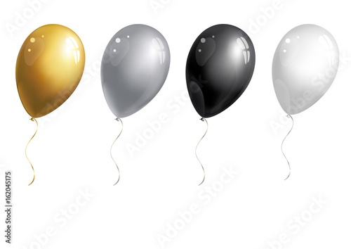 Set of silver, golden, white and black balloons on white background. Vector illustration.