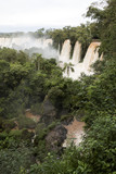 trees and waterfalls at upper part of iguazu falls veiw from argentina
