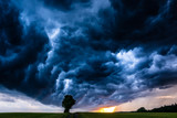 Storm clouds over the field in Saxony, Germany - 162048967