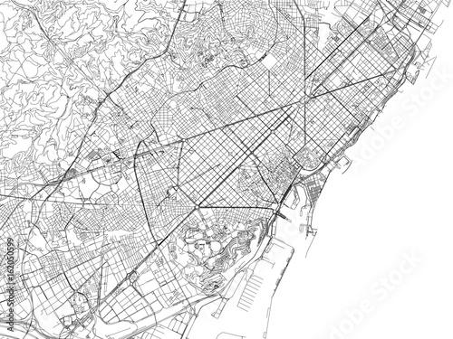 Cartina di Barcellona, città, strade e vie, Spagna - 162050599
