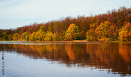 Panoramic landscape with forest lake in autumn rainy day