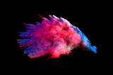 Bizarre forms of powder paint and flour combined  explode in front of a black background to give off fantastic colors and forms. - 162055315