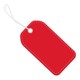 Realistic discount red leather tag for sale promotion. Vector label template. - 162057916