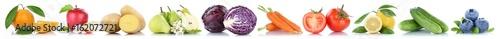 Obst und Gemüse Früchte Apfel Kraut Tomaten Zitrone Kartoffeln Freisteller freigestellt isoliert in einer Reihe