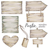 Handpainted collection watercolor wood planks clipart. - 162074159