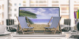 Deck chairs on a laptop - office background. 3d illustration