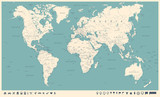 Fototapety Vintage World Map and Markers - Vector Illustration