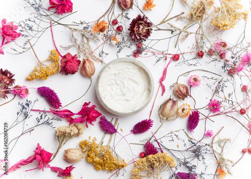 Cream organic cosmetics with herbs