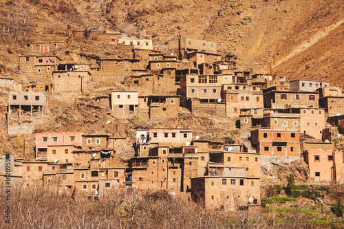 view of a moroccan berber village in high atlas mountains