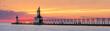 St. Joseph Lighthouses Sunset Panorama - Lake Michigan Coast at St. Joseph, Michigan