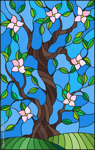 illustration-in-stained-glass-style-with-a-flowering-tree-on-blue-sky-background
