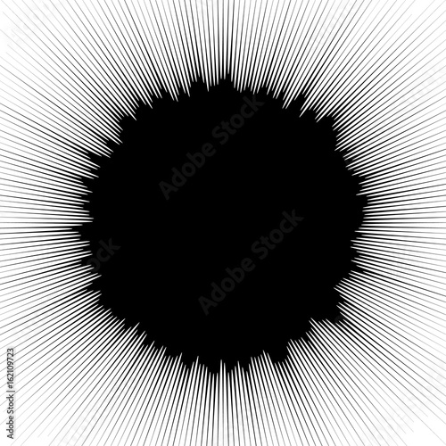 Radial geometric element series. Abstract black and white shape in concentric, circular style. Design elements with various distortion effects. Irregular geometric elements - 162109723