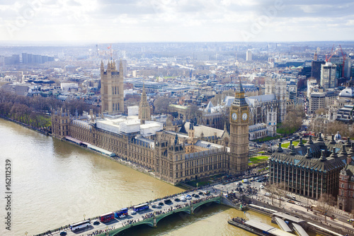 aerial view of Big Ben and London city