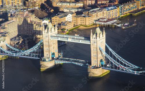 Tower Bridge in London city, aerial view