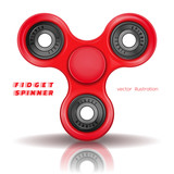 Hand fidget spinner toy for improvement of attention span. Stress-relieving toy. A typical three-bladed fidget spinner made of red plastic. Realistic vector illustration isolated on white background - 162116112