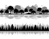 Silhouetten Laub- und Nadelwald