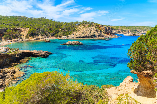 Amazing view of Cala Xarraca bay with azure sea water on northern coast of Ibiza island, Spain