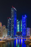 Night lights of Marina Bay in Dubai