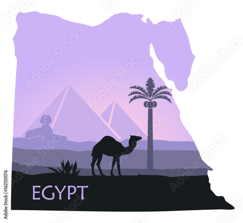Aluminium Purper The landscape of Egypt with a camel, the pyramids and the Sphinx in the form of maps