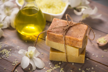 Handmade Soap and Aroma Oil with White orchid. Spa products.