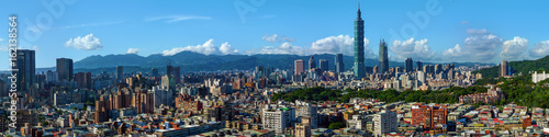 Wide panorama of the center of Taipei City, capital of the country of Taiwan Poster