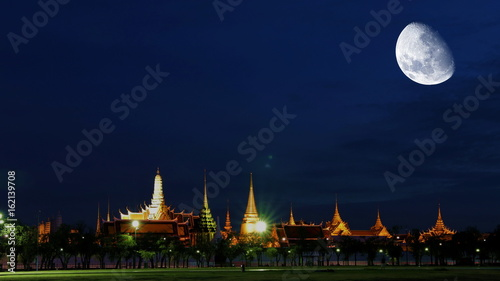 big moon blue sky night clouds background supermoon GRAND PALACE & EMERALD BUDDHA