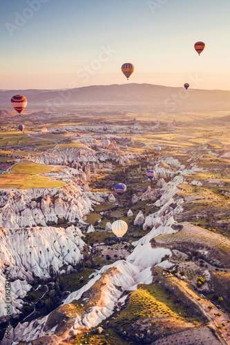 Tuinposter Canyon Balloon flight. The famous tourist attraction of Cappadocia is an air flight. Cappadocia is known all over the world as one of the best places for flights with balloons. Cappadocia, Turkey.