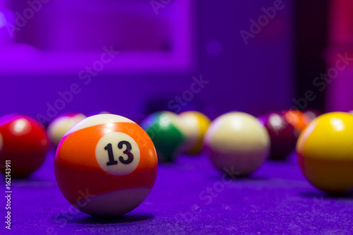 Poster Billiard balls in a pool table
