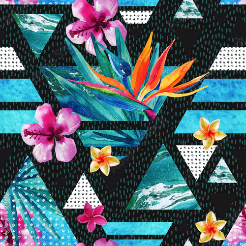 Fototapeta Abstract summer geometric seamless pattern with exotic flowers