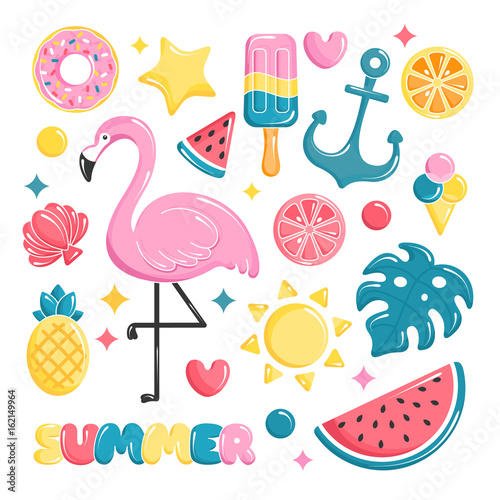 Summer beach elements collection. Balloons set. Flamingo, ice cream, watermelon, sun, monstera, pineapple. Vector illustration - 162149964