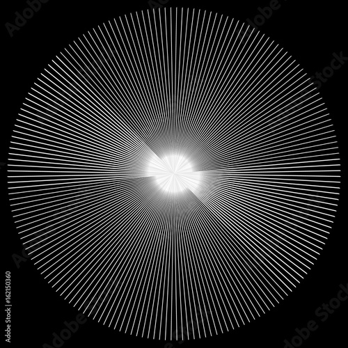 Radial lines element. Abstract geometric illustration. Radiating, bursting line circular pattern - 162150360