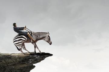 Businesswoman ride zebra. Mixed media