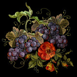 Embroidery cluster of grapes and peonies, beautiful still life. Classical embroidery grapes and flowers on black background, template fashionable clothes, t-shirt design, print, renaissance style - 162156307