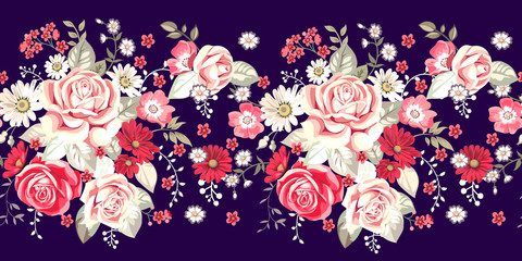 Seamless border with pale roses and red flowers on blue background
