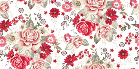 Seamless pattern with pale roses and red flowers on white background