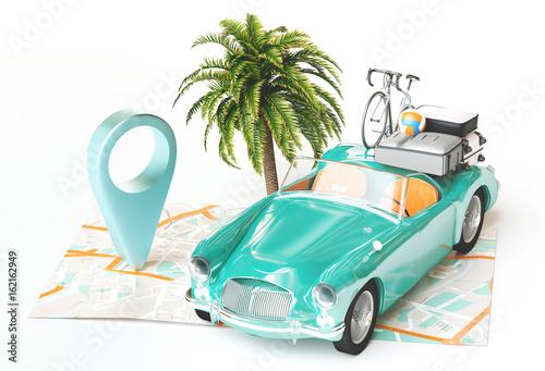 Vacanze, carta geografica con automobile, relax