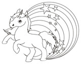 Horse, animal, cartoon, stallion, hooves, neigh,  toy, Unicorn, horn, stars, wings, magic, fairy tale, fiction, fantasy, magic, rainbow, coloring