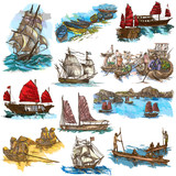 An hand drawn full sized collection, pack of Boats and Ships. Isolated on white. - 162166118