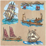 Boats - An hand drawn colored vector pack. Line art. - 162167531
