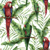 Watercolor seamless pattern with parrots, banana palm leaves and hibiscus. Hand painted red-and-green macaw, palm branch and flowers isolated on white background. Floral print with tropical bird