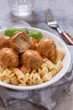 macaroni pasta with mozzarella stuffed meatballs