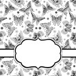 Vector Card Template with Butterflies.  Black and White Butterflies Vector illustration.