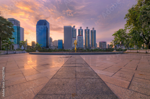 cityscape of high building in the city at morning view form the park.
