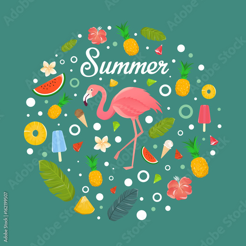 Flamingo with delicious fruits and desserts in summer green background illustration