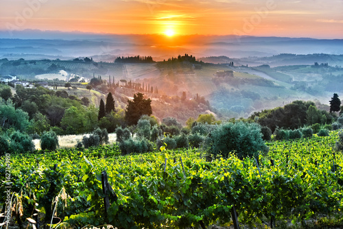 Deurstickers Toscane Landscape view of Tuscany, Italy during sunrise