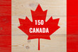canada 150, wooden background