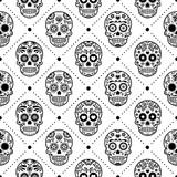 Halloween seamless pattern, Mexican sugar skull vector design, Dia de los Muertos, Calavera background