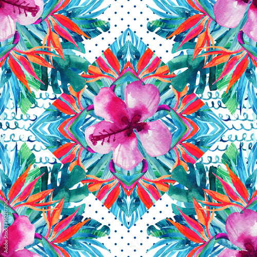 Fototapeta Abstract textured geometric and floral seamless pattern