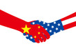 business man shaking hands, china and american national flags