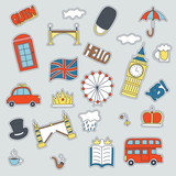 Fototapety Hand drawn patch badges with United Kongdom symbols - bus crown cloud hat flag umbrella cup of tea, red telephone box Tower bridge Big Ben. Stickers, pins and patches in cartoon 80s-90s comic style